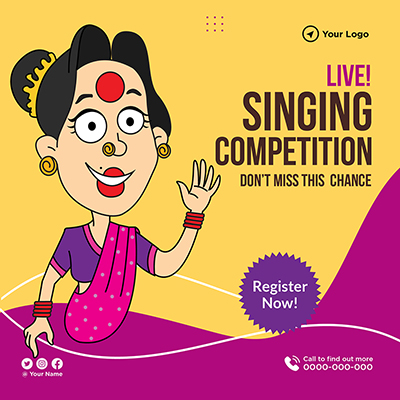 Template banner of live singing competition