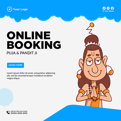 Template banner of online booking for puja and pandit ji