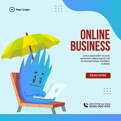 Template banner of online business