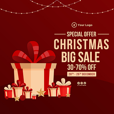 Template banner of special offer on christmas big sale