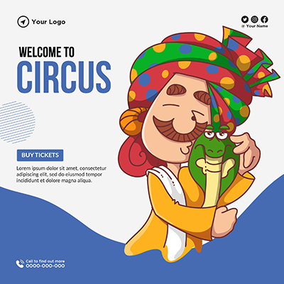 Template banner of welcome to circus