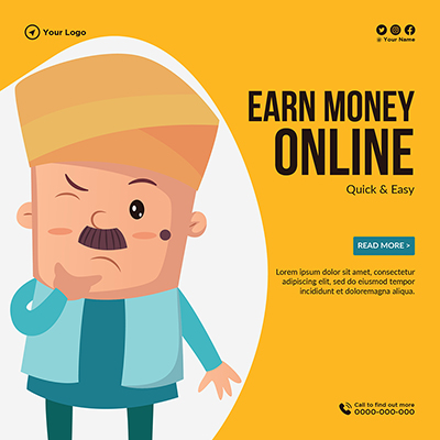 Template design of earn money online quick and easy