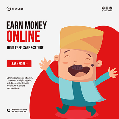 Template design of earn money online safe and secure