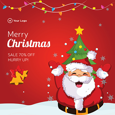 Template design of merry christmas with sale offer