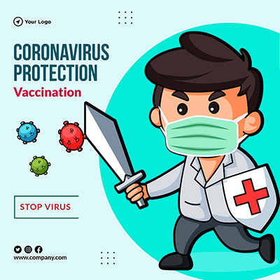 Template of coronavirus protection vaccination