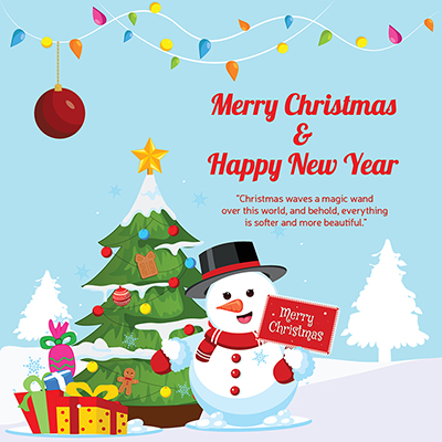 Template of merry christmas and happy new year