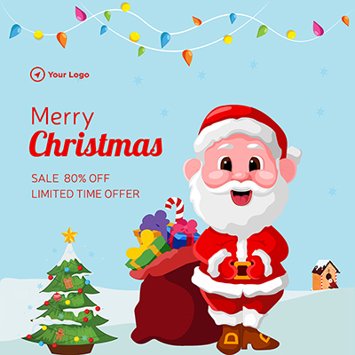 Template of merry christmas limited sale offer