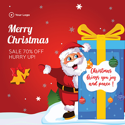 Template of merry christmas with sale offer