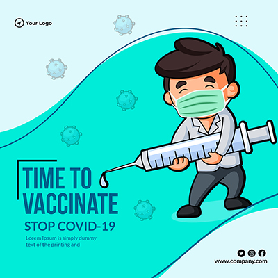 Time to vaccinate banner template design