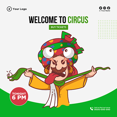 Welcome to circus banner template
