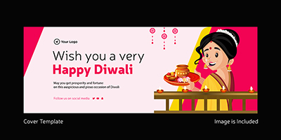 Wish you a very happy Diwali cover template