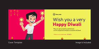 Wish you a very happy Diwali cover template design