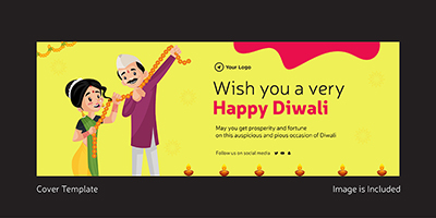 Wish you a very happy Diwali coverpage template