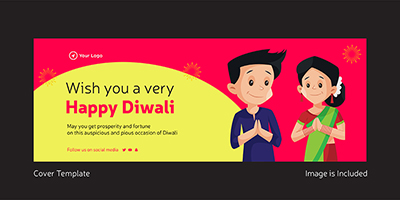 Wish you a very happy Diwali facebook cover template