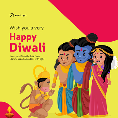 Wish you a very happy Diwali on flat template