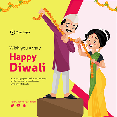 Wish you a very happy Diwali on flat template banner