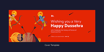 Wishing you a very happy dussehra on a cover template