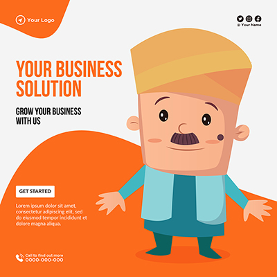 Your business solution and grow your business banner template